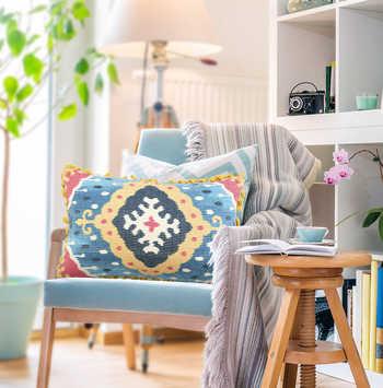 Multi Ikat Digital Print Chenille Cushion With Tassels