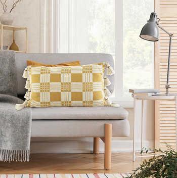 Mustard Cotton Jacquard Cushion With Tassels