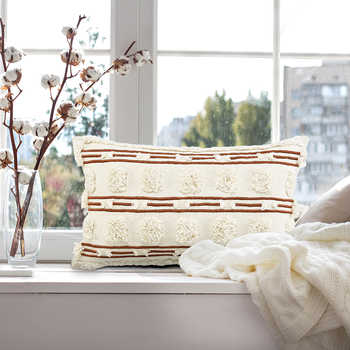 Ivory And Rust Cotton Hand Embroidered Cushion