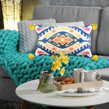 Multi Ikat Chenille Digital Print Cushion With Tassels