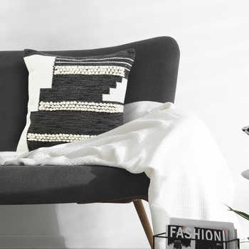 Slate Grey And Ivory Handwoven  Cotton Cushion