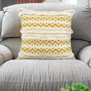 Ivory And Mustard Handwoven Cotton Cushion Cotton