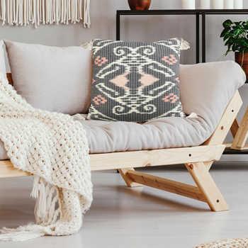 Charcoal Ikat Printed Cushion