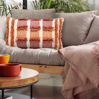 Maroon Cotton Woven Cushion