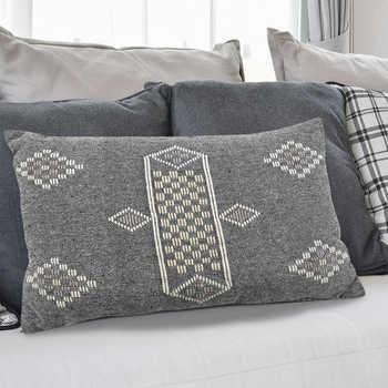 Charcoal Cotton Jacquard Cushion