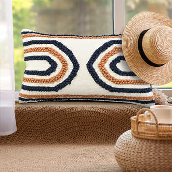 Navy And Rust Cotton Pitloom Cushion
