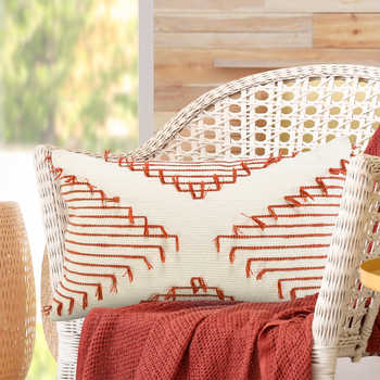 Ivory And Rust Cotton Cushion
