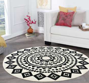 White & Black Printed Round Cotton Braided Rug
