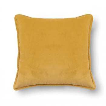 Yellow Plain Chenille Cushion Cover