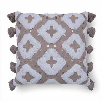 Taupe/Ivory Hand Tufted Cushion Cover with Sequins Embroidery and Tassels