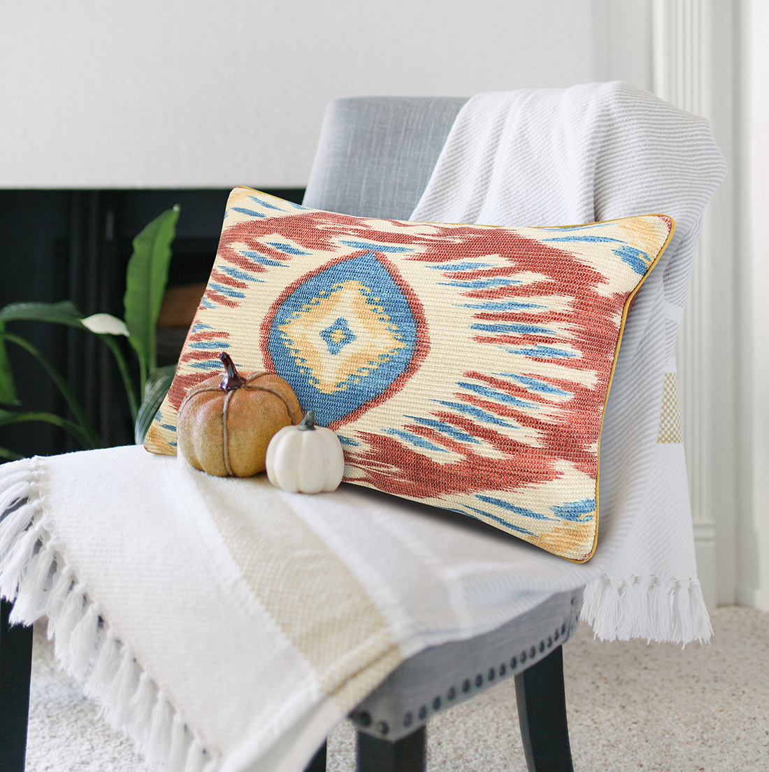 Multi Ikat Digital Print Cushion