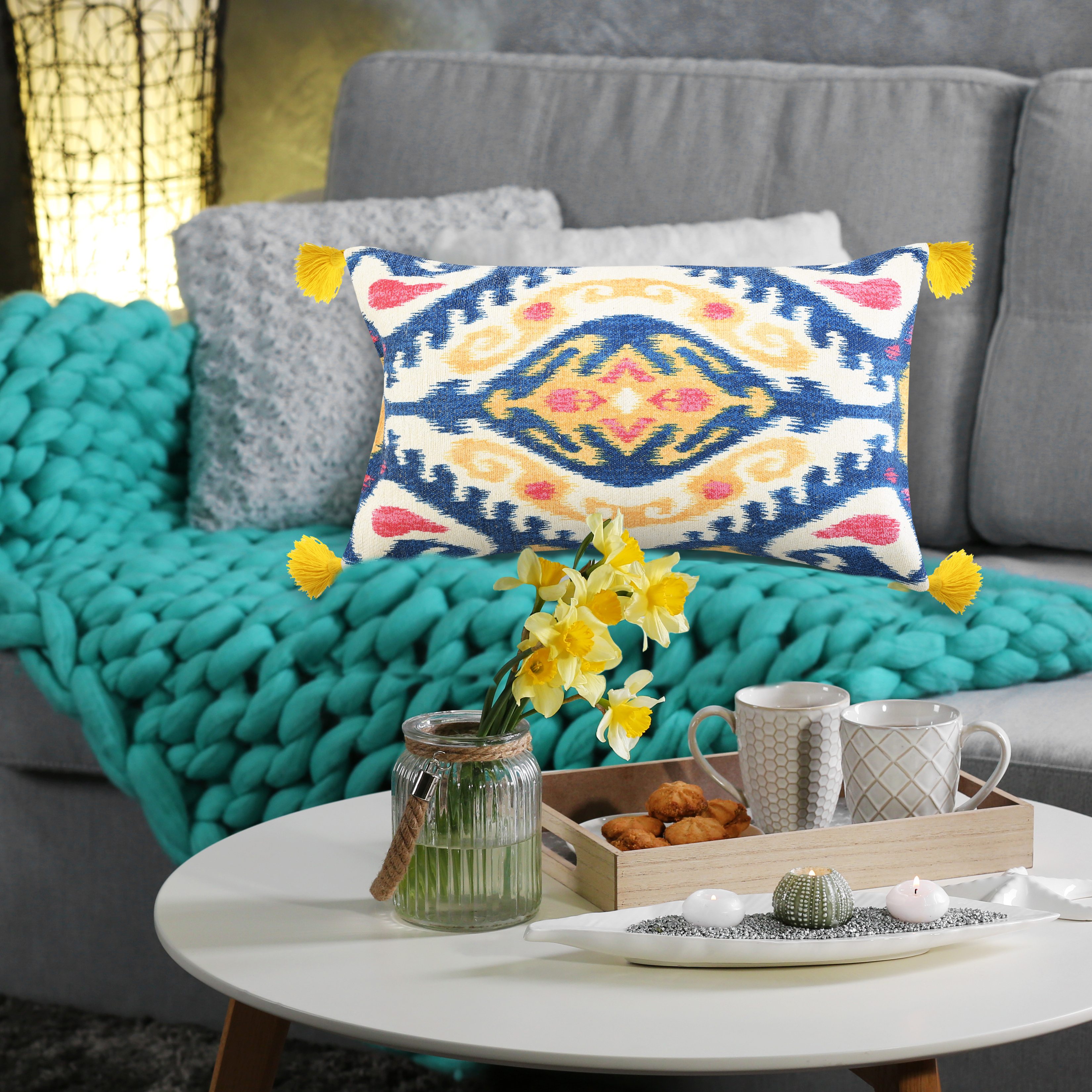 Multi Ikat Chenille Digital Print Cushion With Tassels
