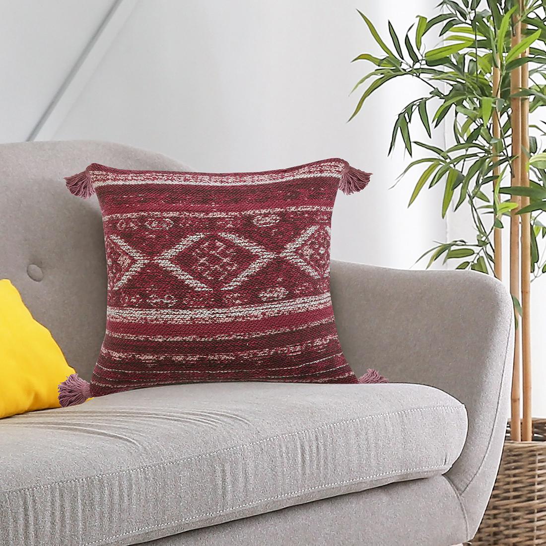 Maroon Cotton Jacquard Cushion With Tassels