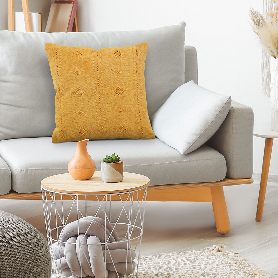 Mustard Embroidered Cushion