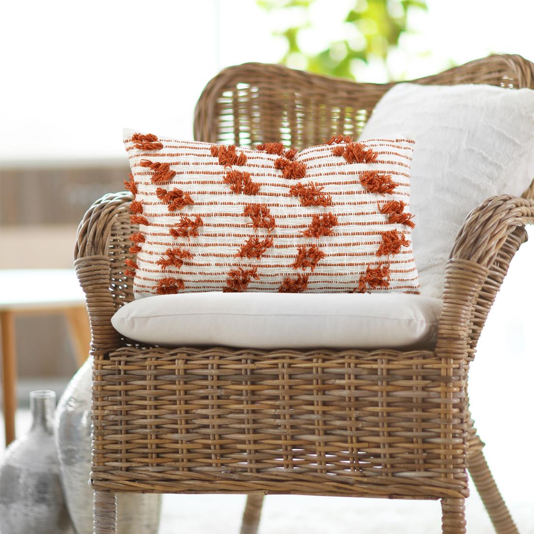 Rust Cotton Woven Cushion