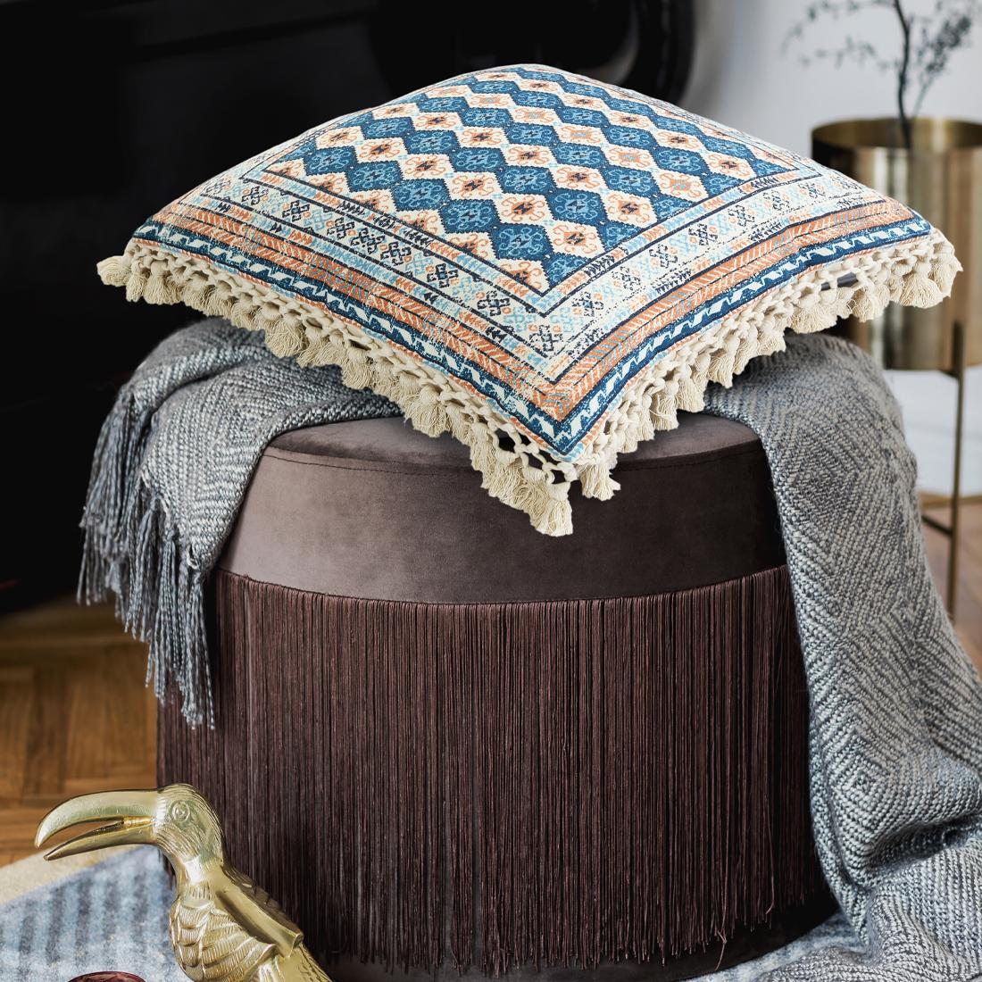 Turquoise Pet Printed Cushion