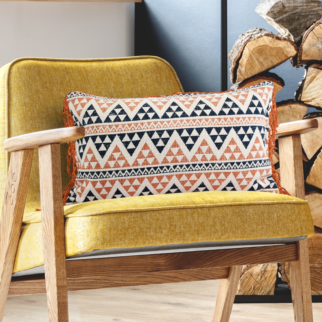 Rust And Navy Cotton Printed  Cushion
