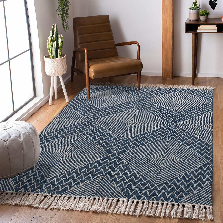 Hand Woven Blue Wool Rug