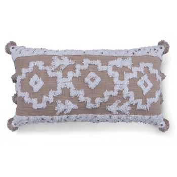 Taupe/Ivory Hand Tufted Cushion Cover with Tassels