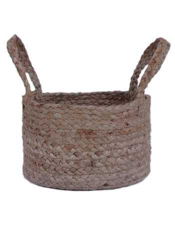 Round Hand Braided Jute Basket