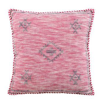 Pink Cotton jacquard cushion