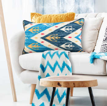 Multi Blue Ikat Digital Print Chenille Cushion
