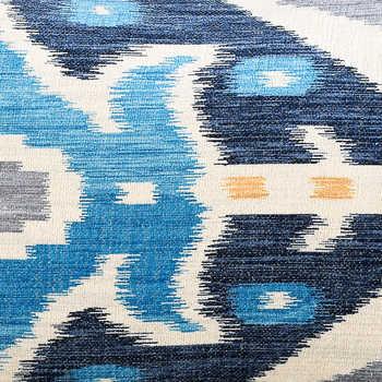 Multi Blue Ikat Digital Print Chenille Cushion