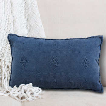 Navy Embroidered Cushion