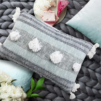 Multi Blue Hand Woven Cotton Cushion With Tassels