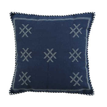 Navy Cotton Jacquard Cushion