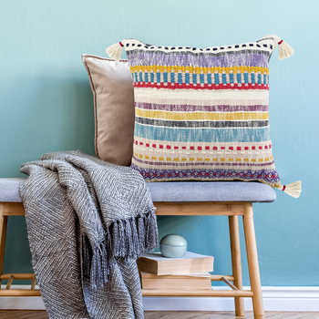 Multi Cotton Woven Cushion With Tassels