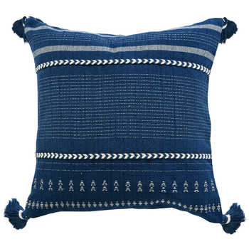 Blue Handwoven Pet Cushion With Tassels