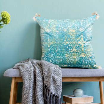 Teal Chenille Digital Print Cushion With Tassels