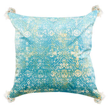 Teal Chenille Digital Print Cushion With Tassels