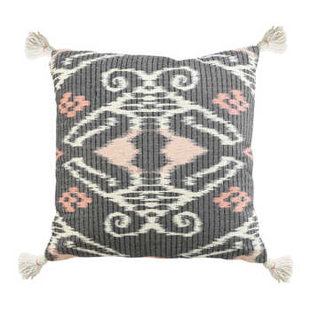 Charcoal Ikat Printed Cushion