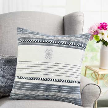 Ivory Blue Hand Woven Pet Cushion