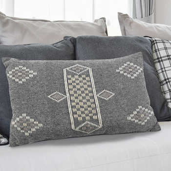 Charcoal Cotton Jacquard Cushion