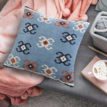 Blue Cotton Jacquard Cushion