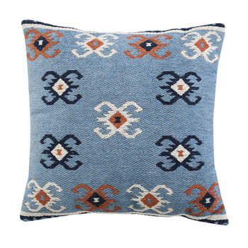 Blue Cotton Jacquard Cushion