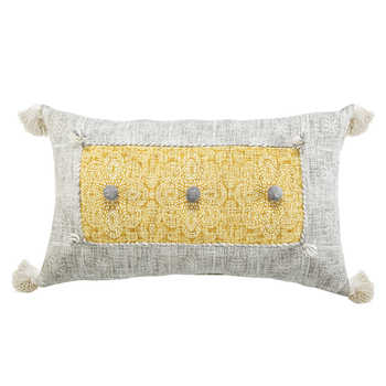 Mustard Grey Cotton Printed Cushion