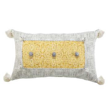 Mustard Grey Cotton Printed Cushion
