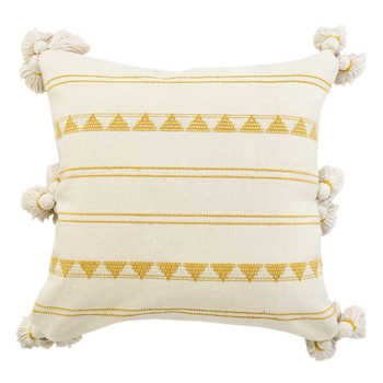 Cotton Jacquard Cushion With Tassels
