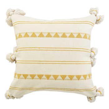Cotton Jacquard Cushion With Tassels