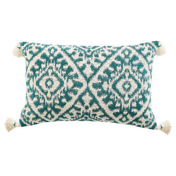 Green Jacquard Cushion With Tassels