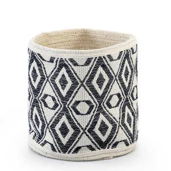 Ivory & Black Cotton Jacquard Basket