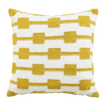 Ivory Mustard Cotton Embroidered Cushion