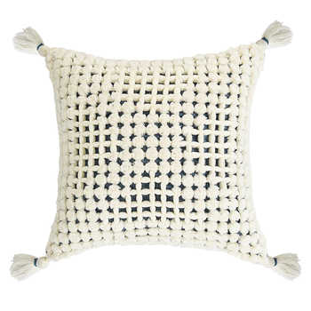 Ivory Acrylic Handwoven Cushion With Tassels