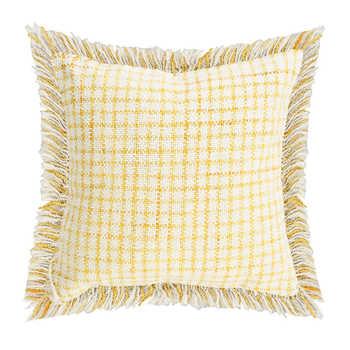 Ivory Mustard Cotton Woven Cushion