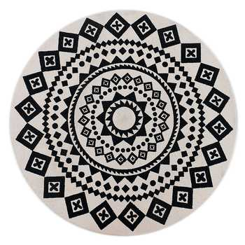 White & Black Printed Round Cotton Braided Rug