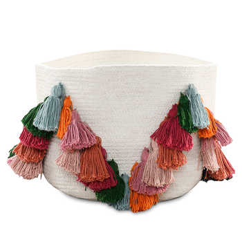 Ivory Cotton Woven Basket with Tassels